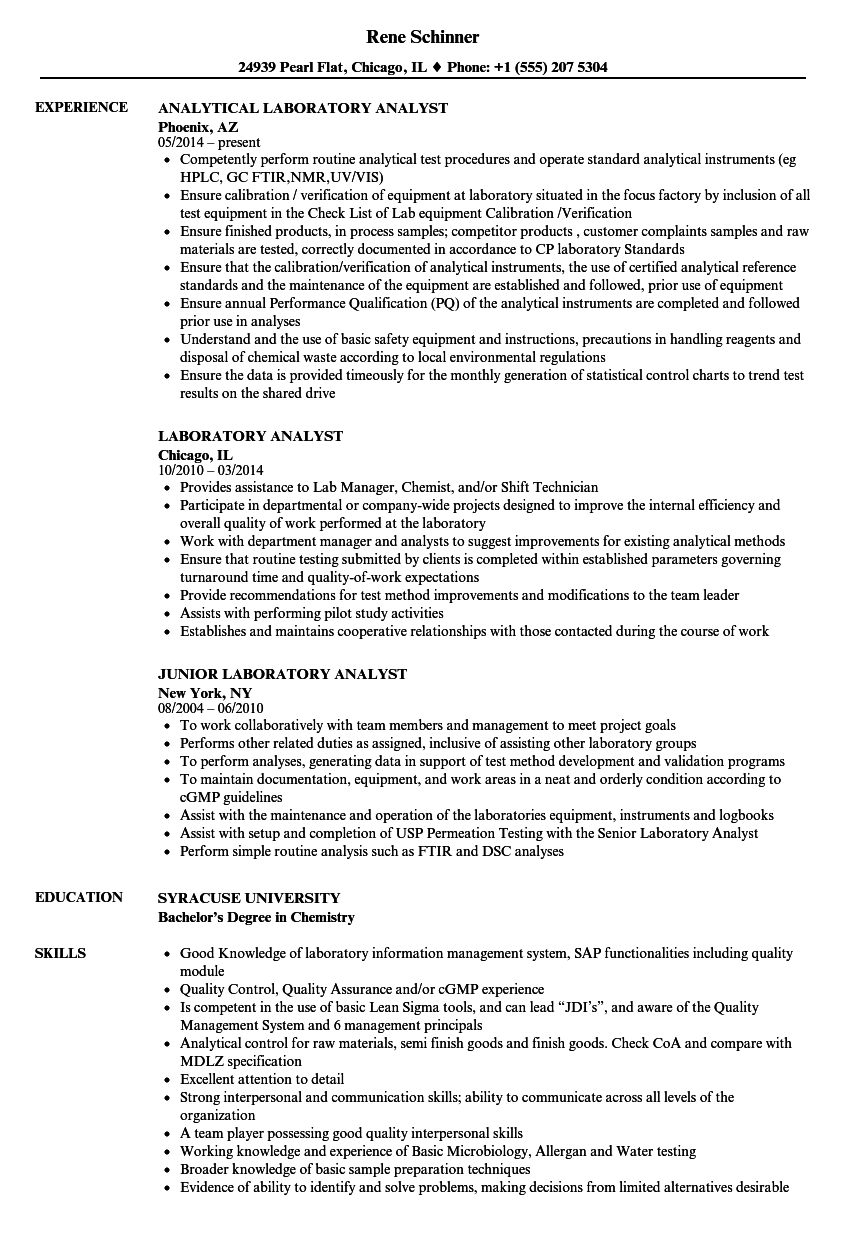 download laboratory analyst resume sample as image file