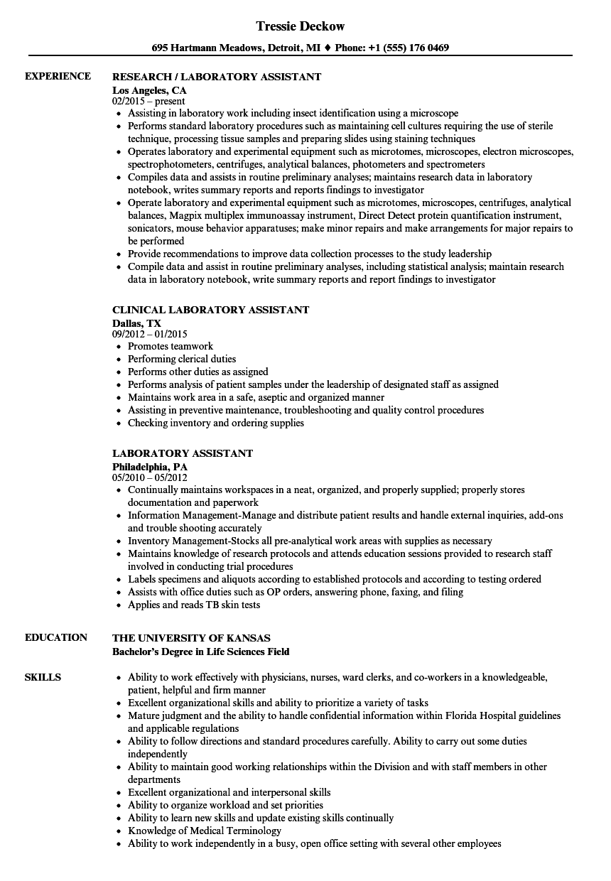 Resume For Lab Assistant