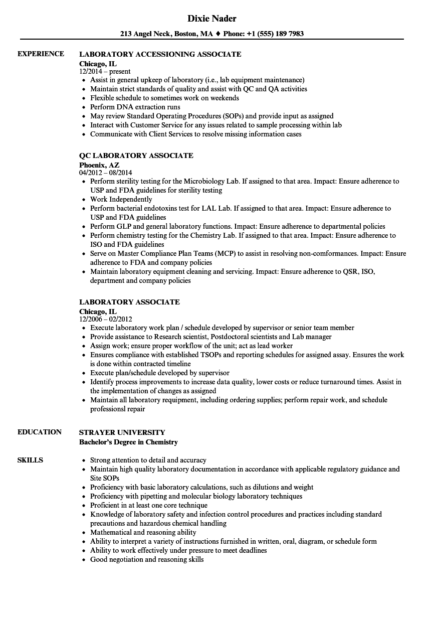 download laboratory associate resume sample as image file