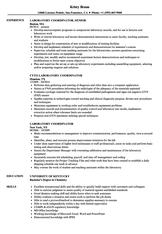 Laboratory Coordinator Resume Samples | Velvet Jobs