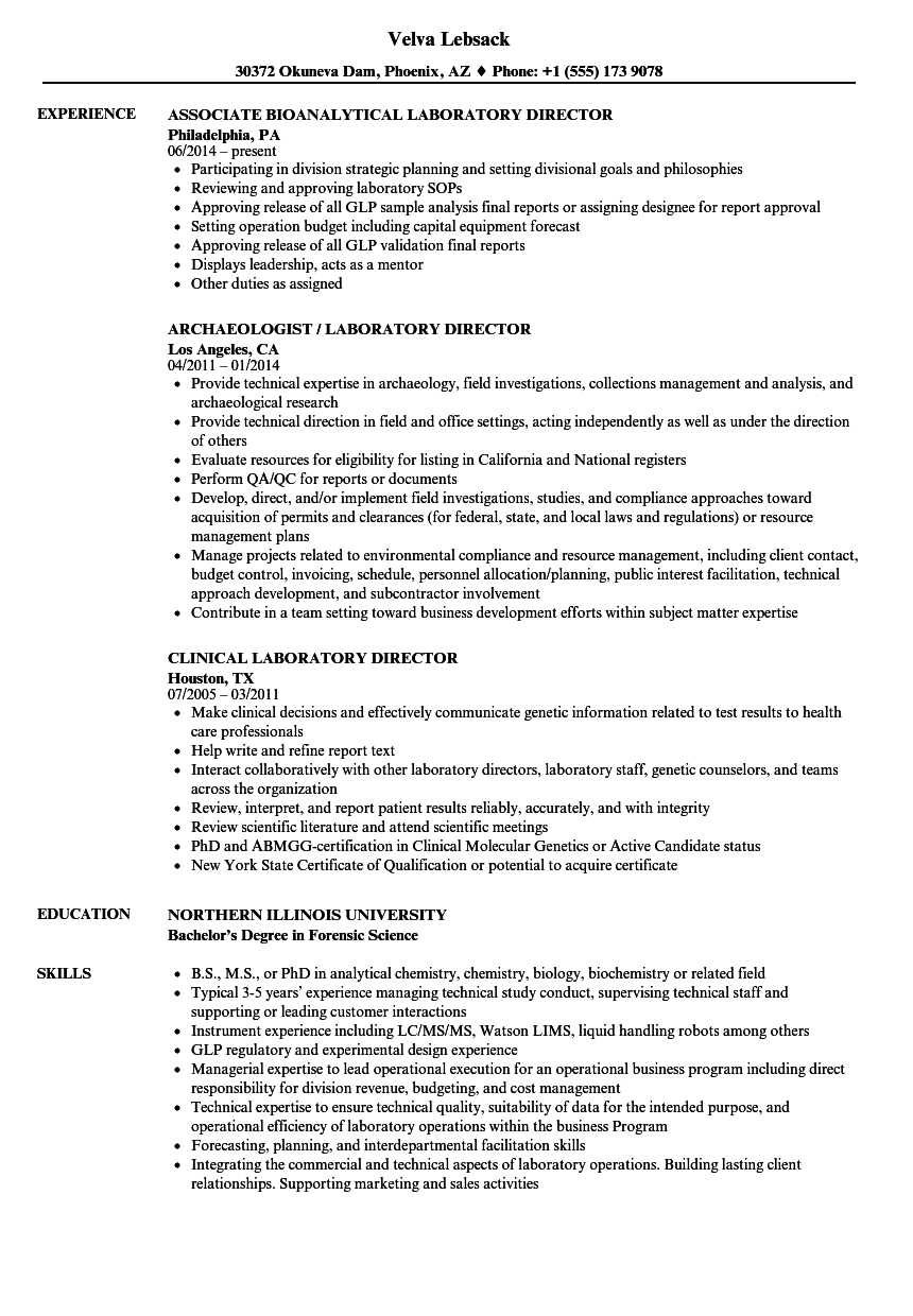 laboratory director resume samples