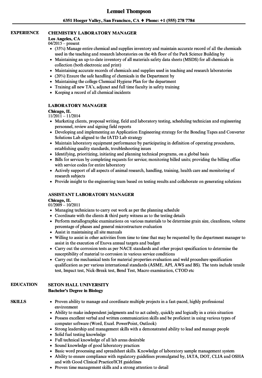 Velvet Jobs  Lab Manager Resume