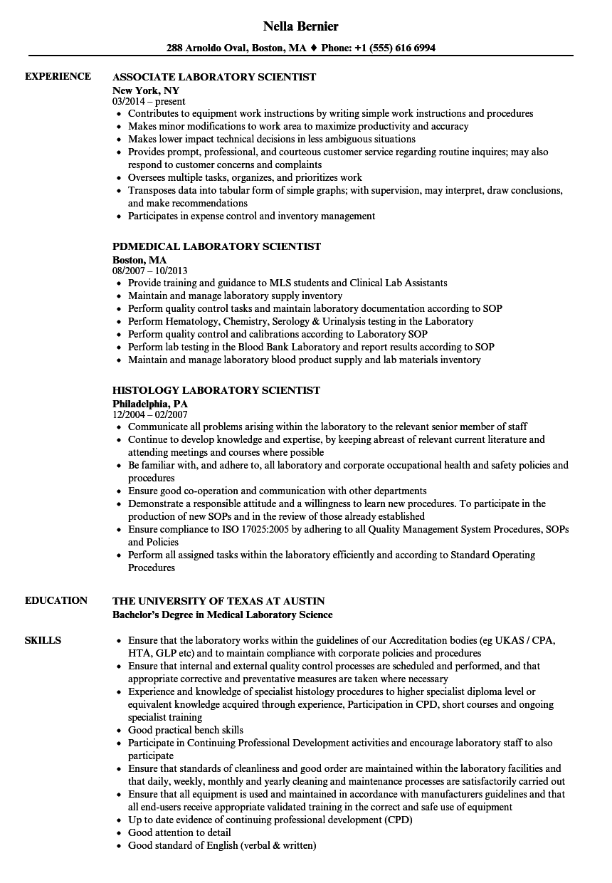 clinical laboratory scientist resumes - Vaydile.euforic.co