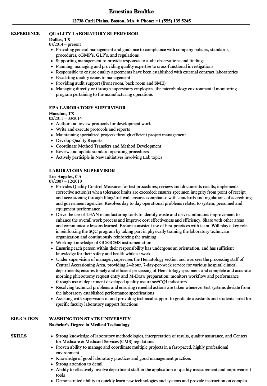 Laboratory Supervisor Resume Samples | Velvet Jobs