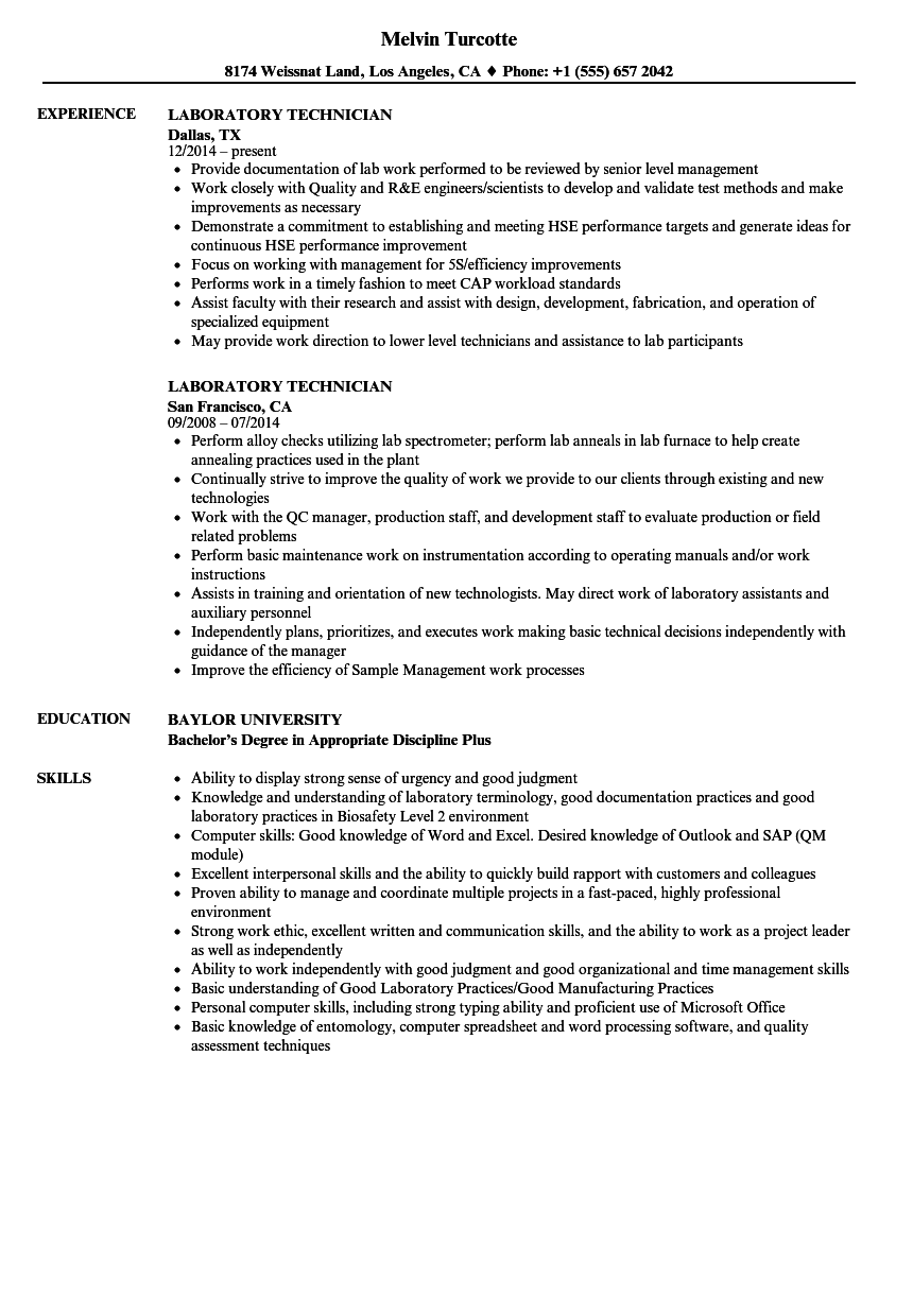Laboratory Technician Resume Samples | Velvet Jobs
