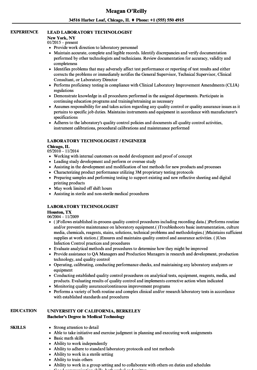 Laboratory Technologist Resume Samples | Velvet Jobs