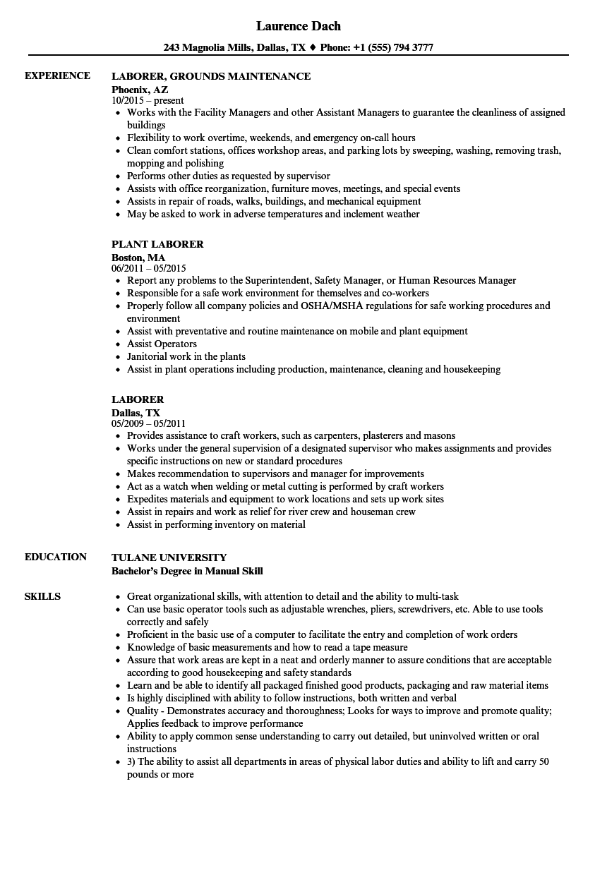 Laborer Resume Samples | Velvet Jobs