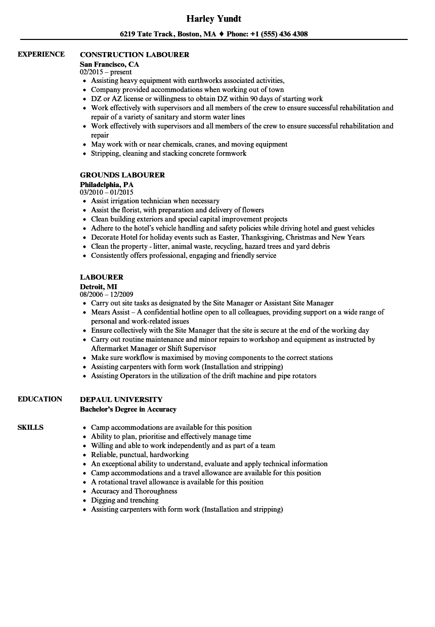 Labourer Resume Samples | Velvet Jobs