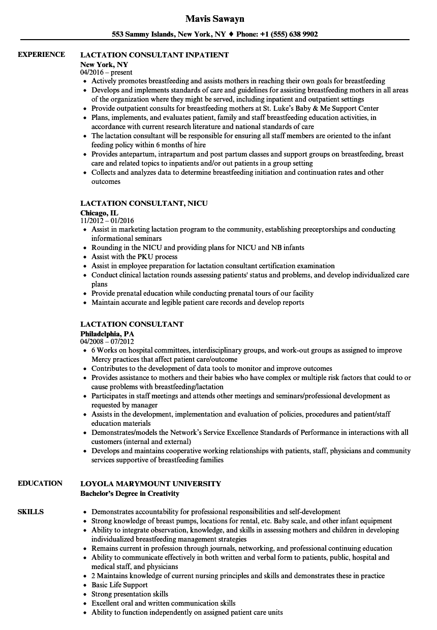 lactation consultant resume samples