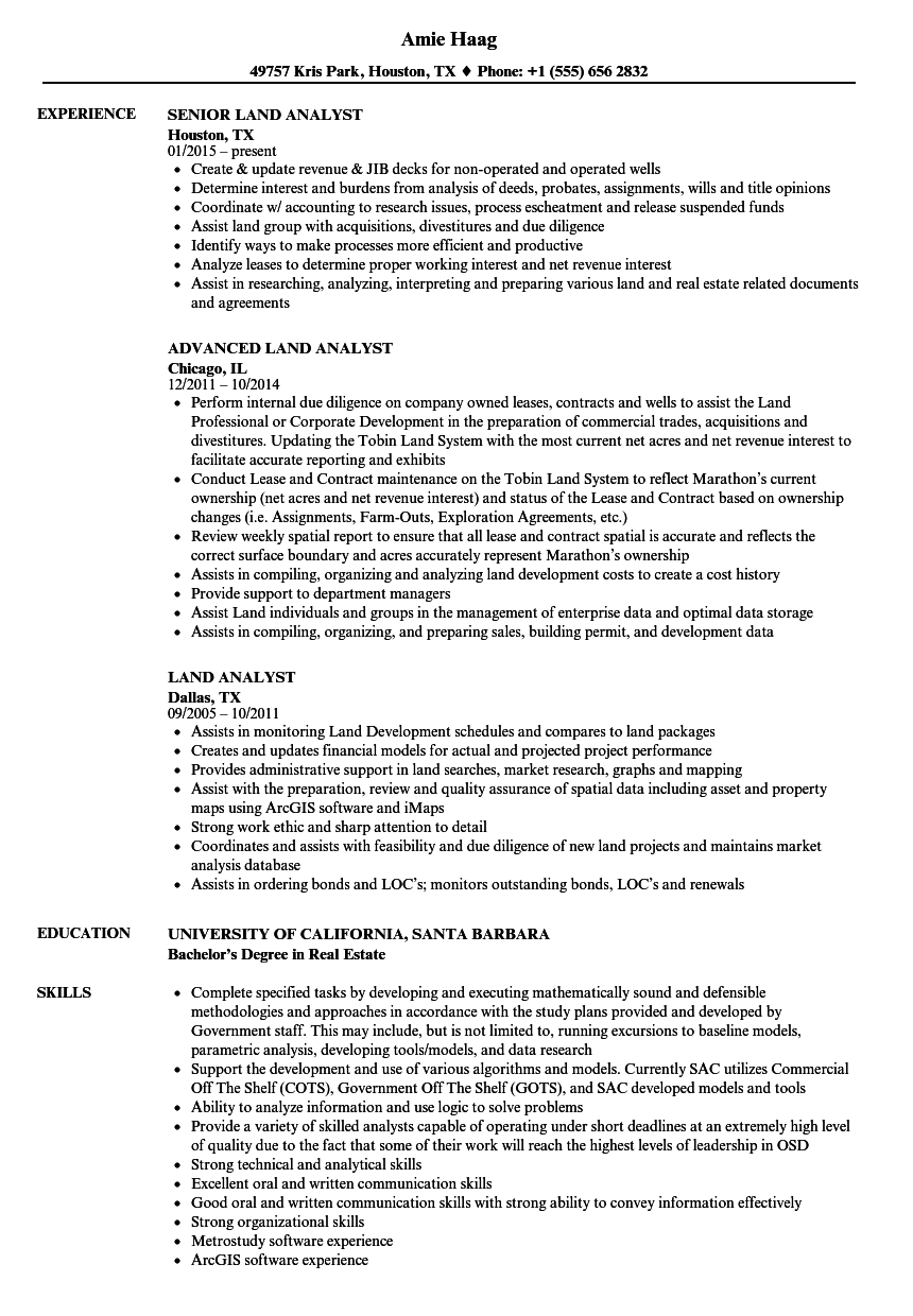 land analyst resume samples