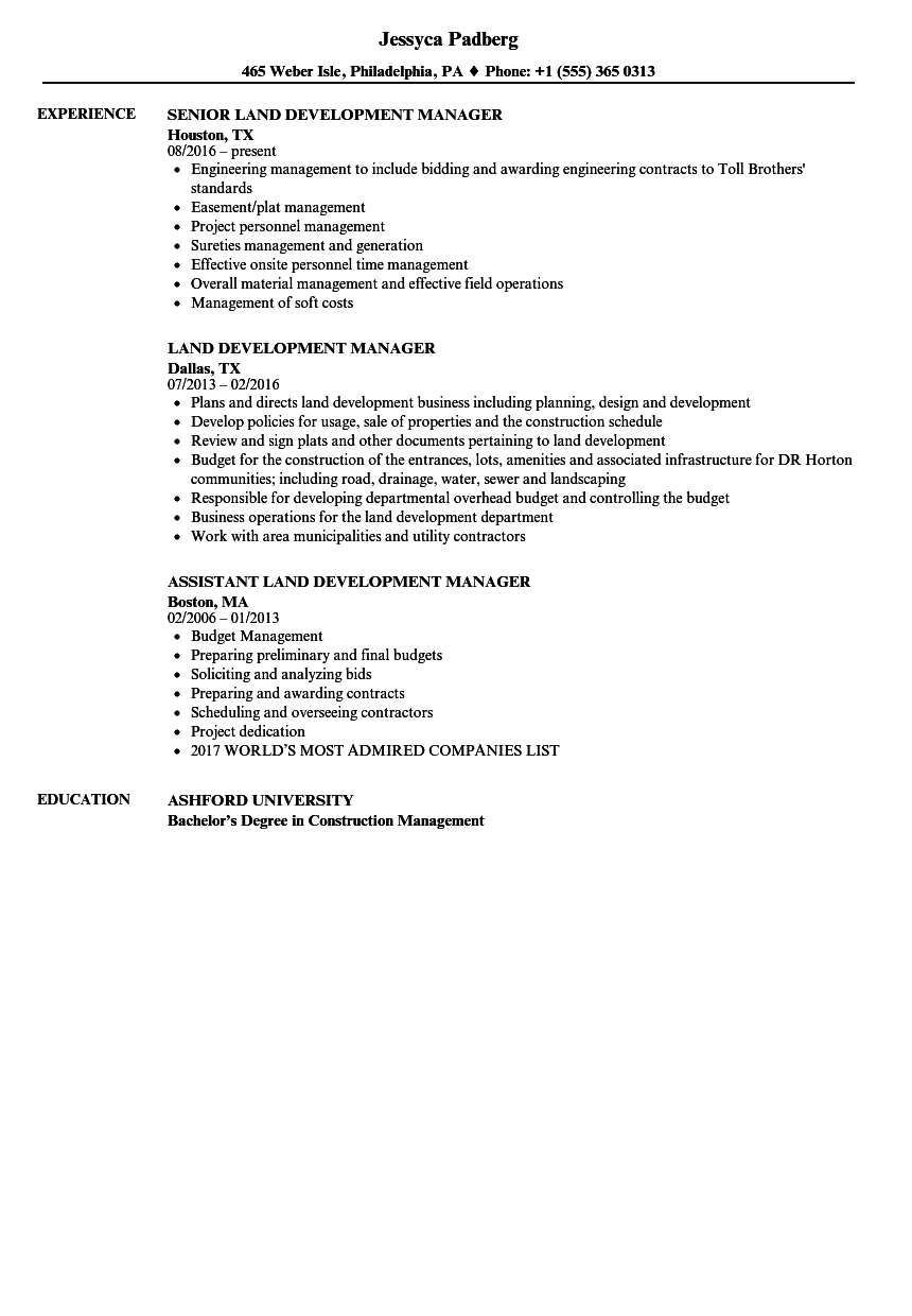 land development manager resume samples