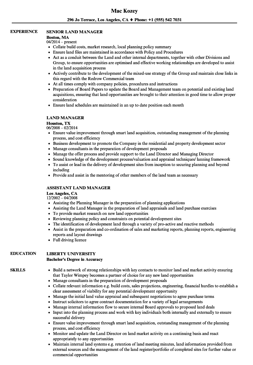 Land Manager Resume Samples | Velvet Jobs