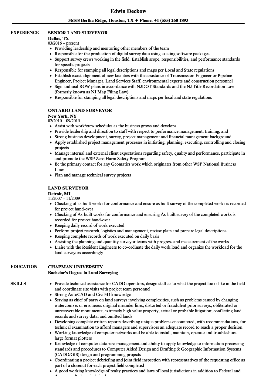 Land Surveyor Resume Samples | Velvet Jobs