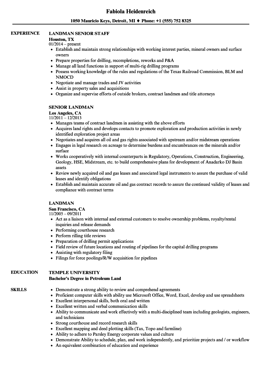 Landman Resume Samples | Velvet Jobs
