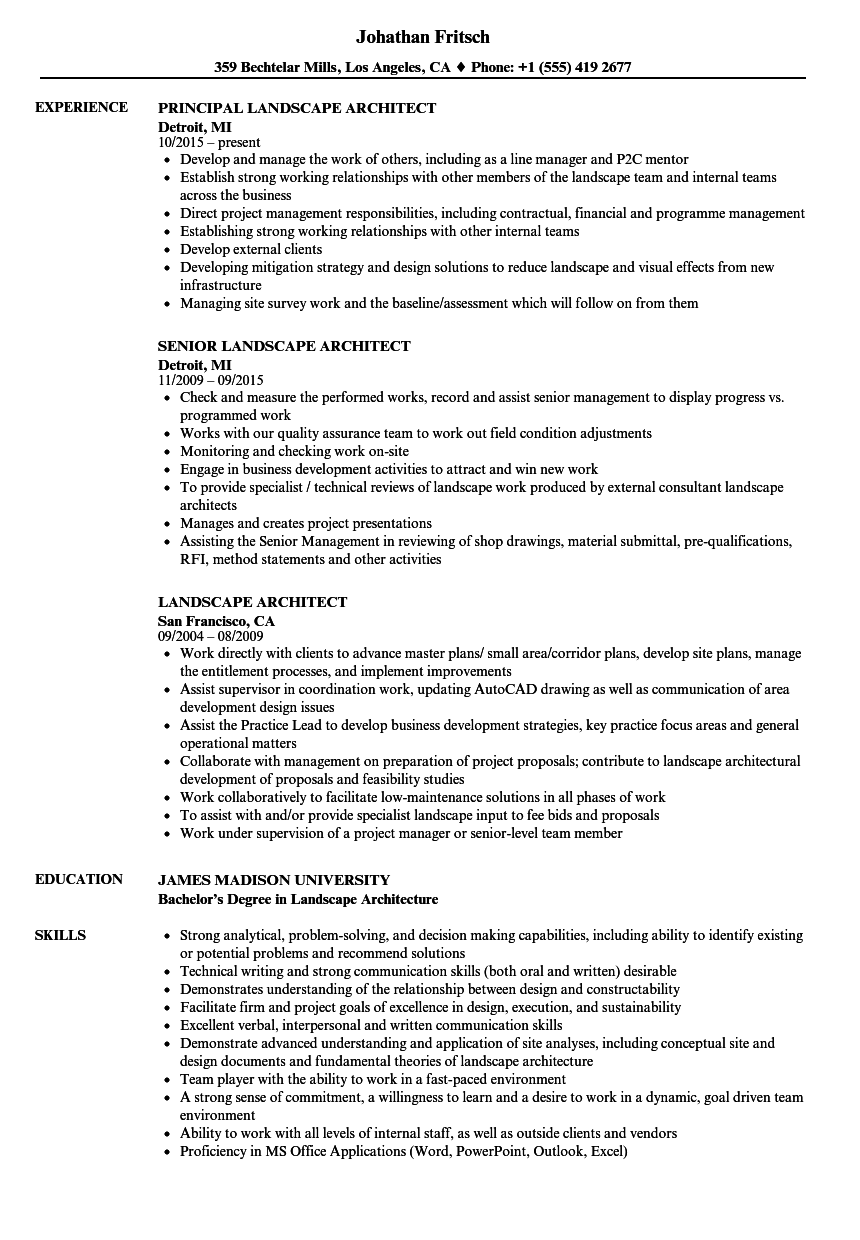 Landscape Architect Resume Samples | Velvet Jobs