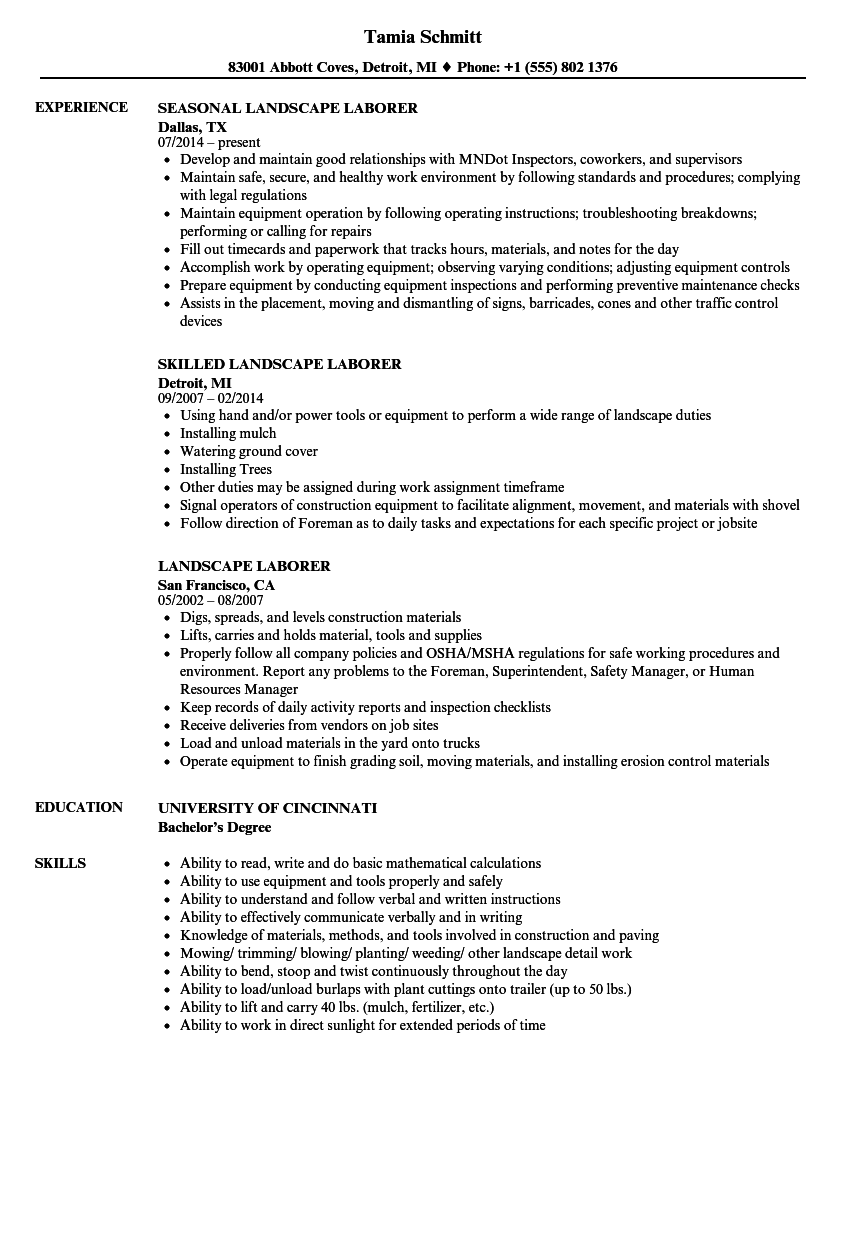 Landscape Laborer Resume Samples | Velvet Jobs