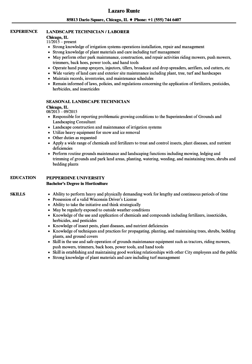 landscape technician resume samples velvet jobs