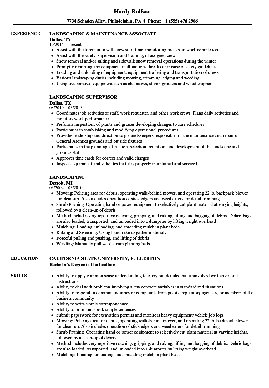 resume Landscaping Resume Skills landscaping resume samples velvet jobs download sample as image file