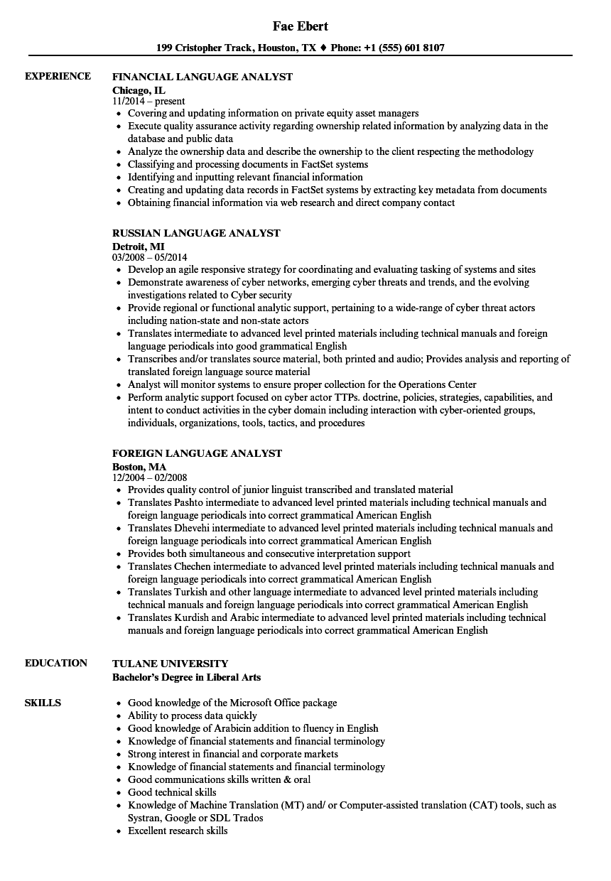 language analyst resume samples