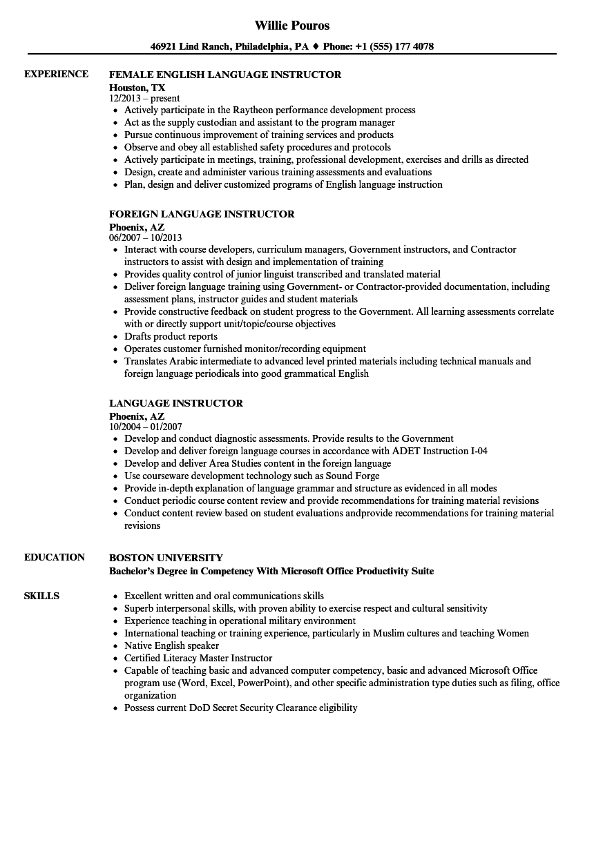 Language Instructor Resume Samples | Velvet Jobs