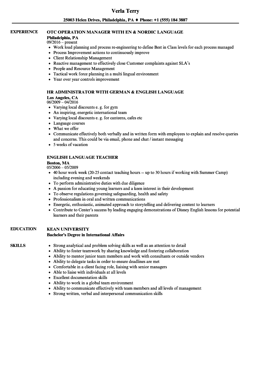 language resume samples velvet jobs - Language On Resume Sample