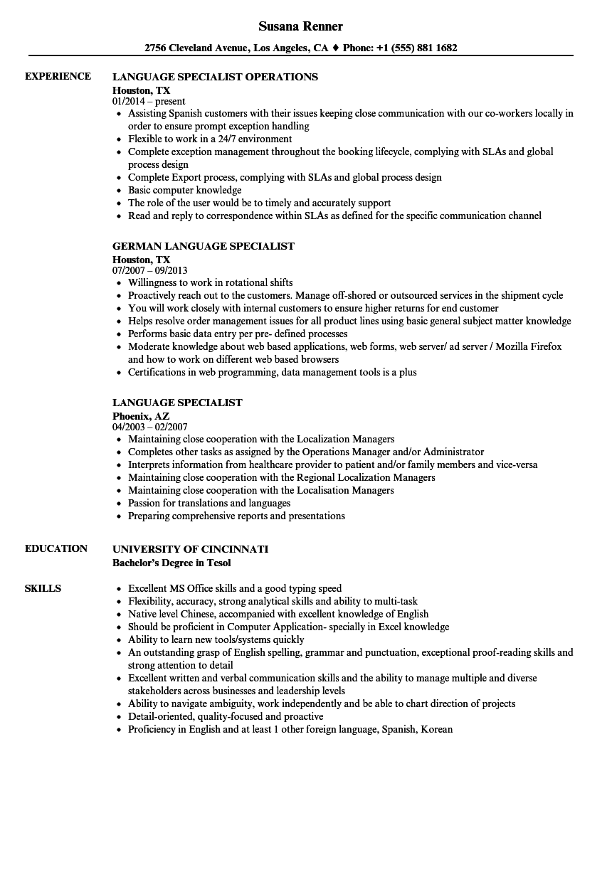 resume Languages In A Resume language specialist resume samples velvet jobs download sample as image file