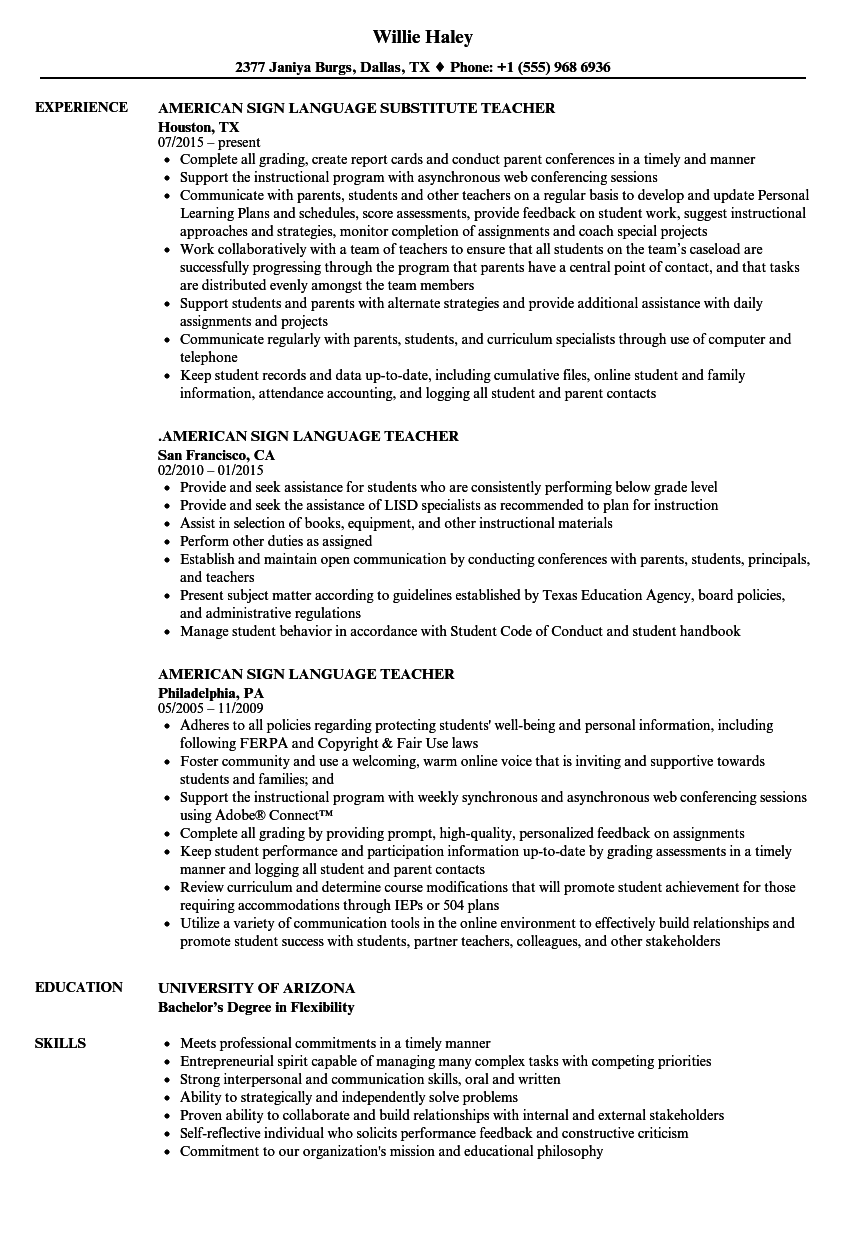 language teacher resume samples