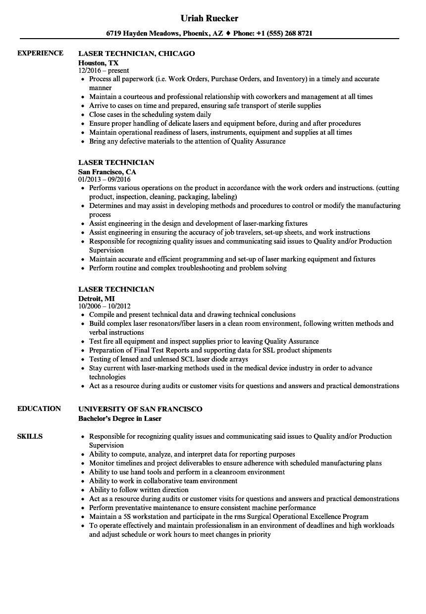 Laser Technician Resume Samples | Velvet Jobs
