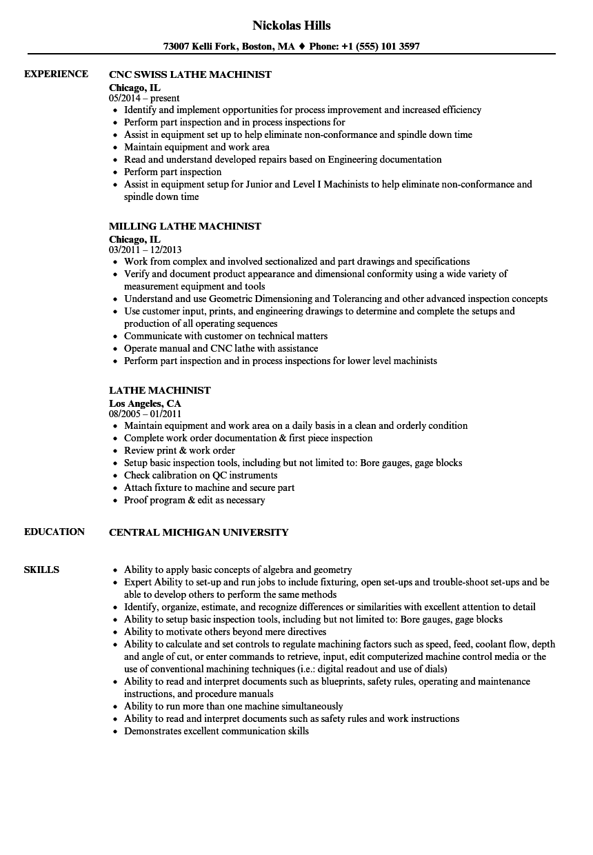 Download Lathe Machinist Resume Sample As Image File