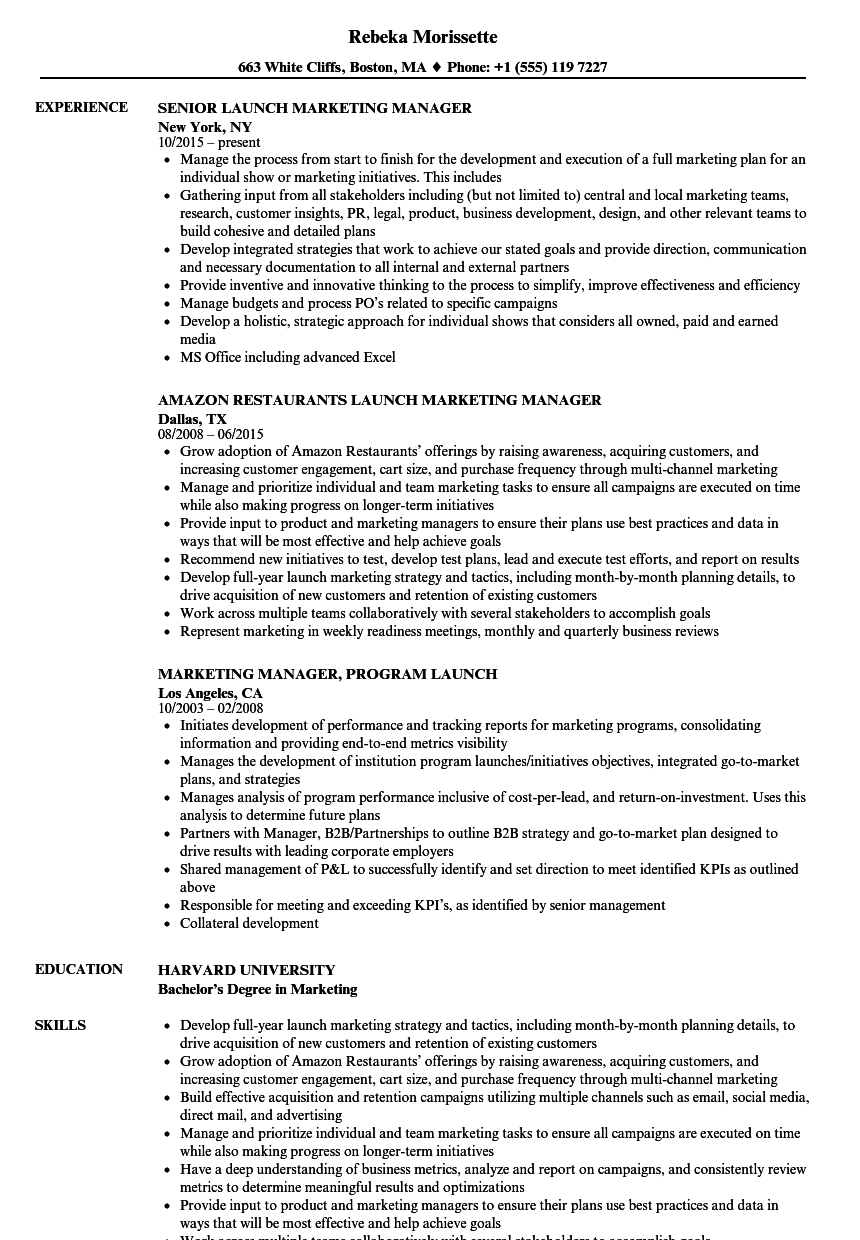 Launch Marketing Manager Resume Samples | Velvet Jobs