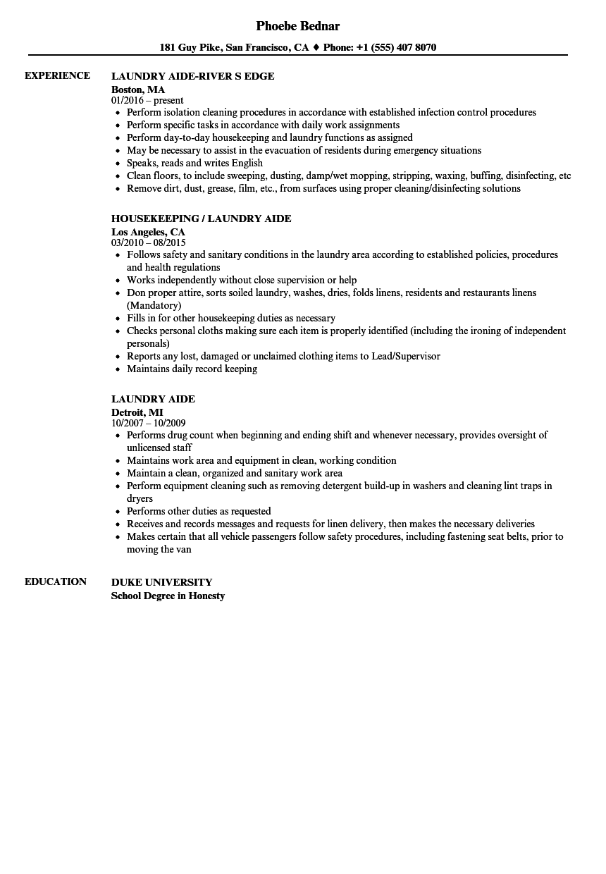 laundry aide resume samples