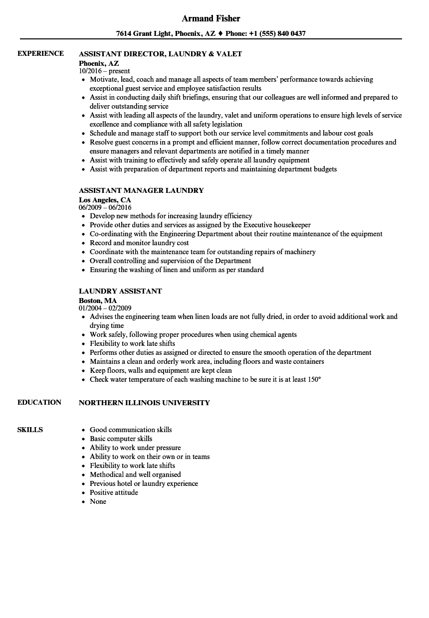 laundry assistant resume samples