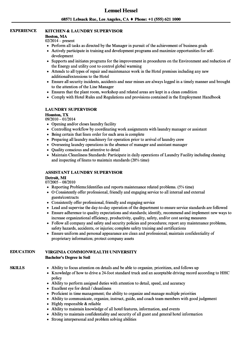 Laundry Supervisor Resume Samples | Velvet Jobs