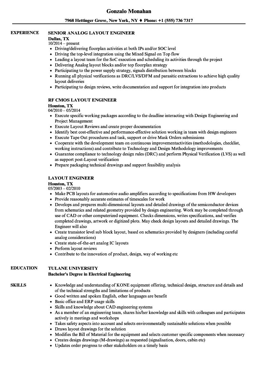 layout engineer resume samples