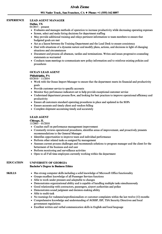 Lead Agent Resume Samples Velvet Jobs