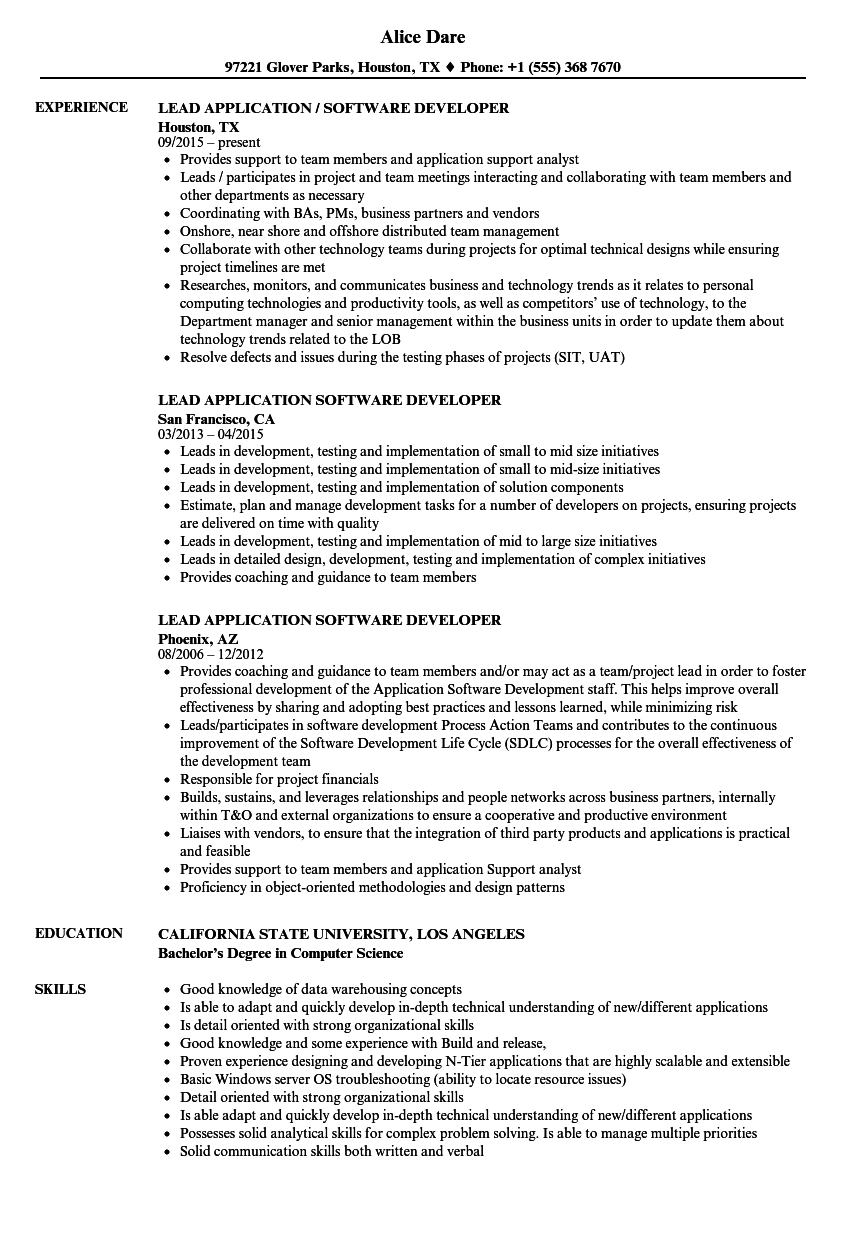 Lead Application Software Developer Resume Samples Velvet Jobs