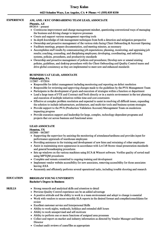 Download Lead Associate Resume Sample As Image File