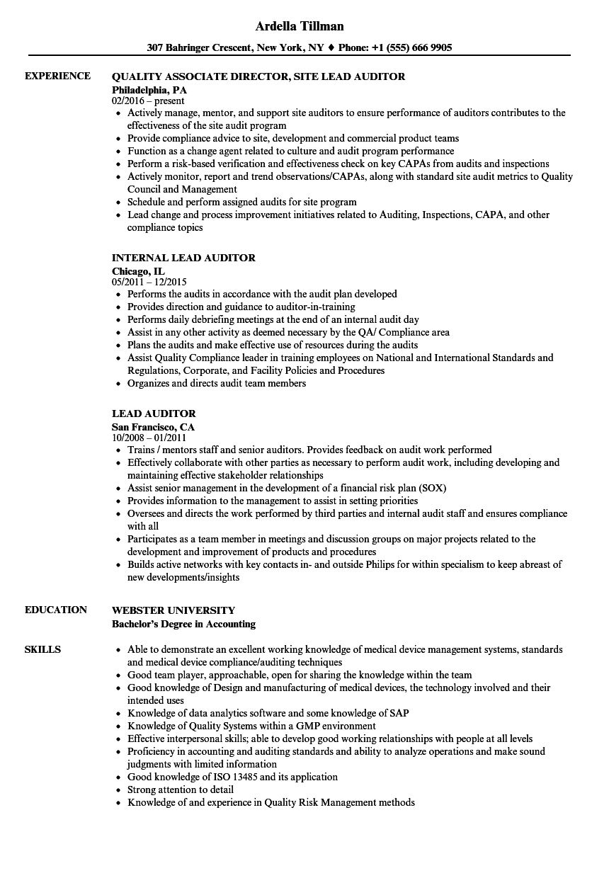 lead auditor resume samples