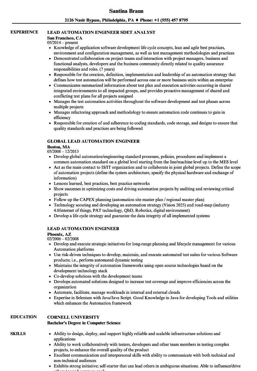 lead automation engineer resume samples