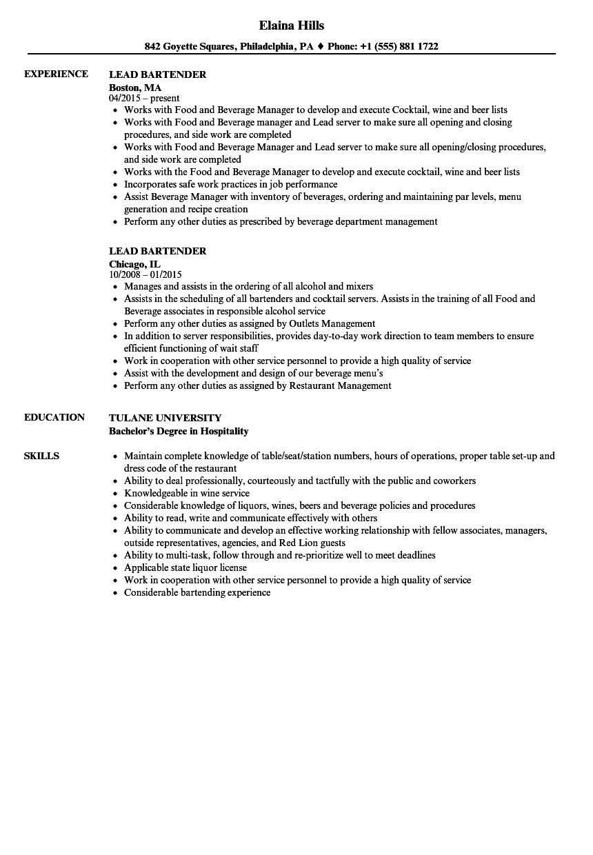 Lead Bartender Resume Samples | Velvet Jobs