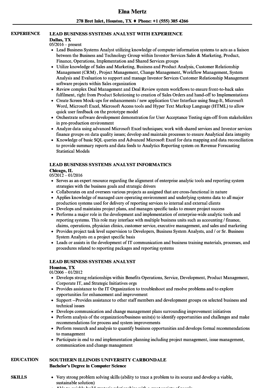 lead business systems analyst resume samples