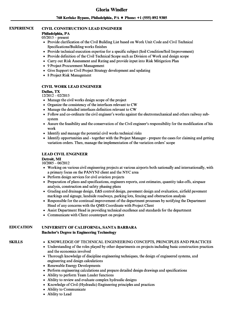 lead civil engineer resume samples velvet jobs