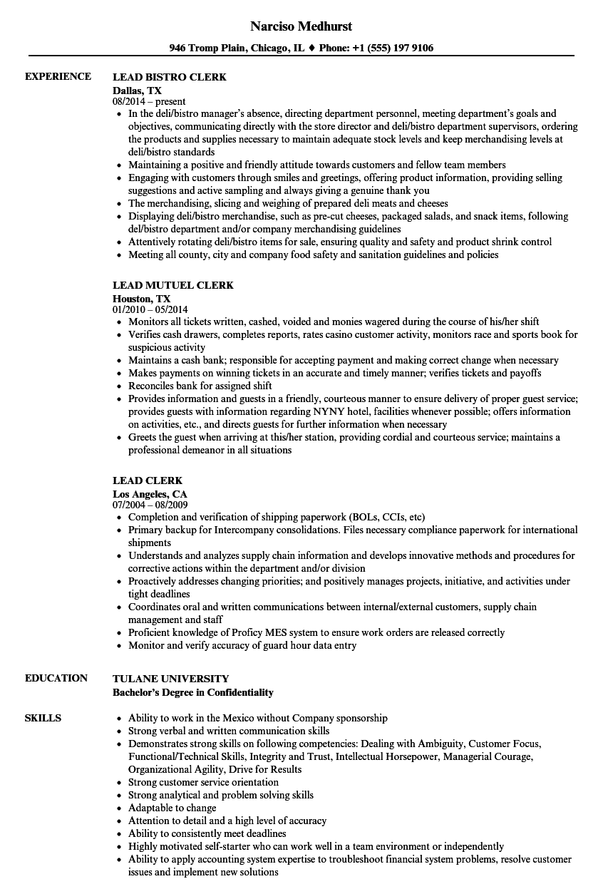 Lead Clerk Resume Samples   Velvet Jobs