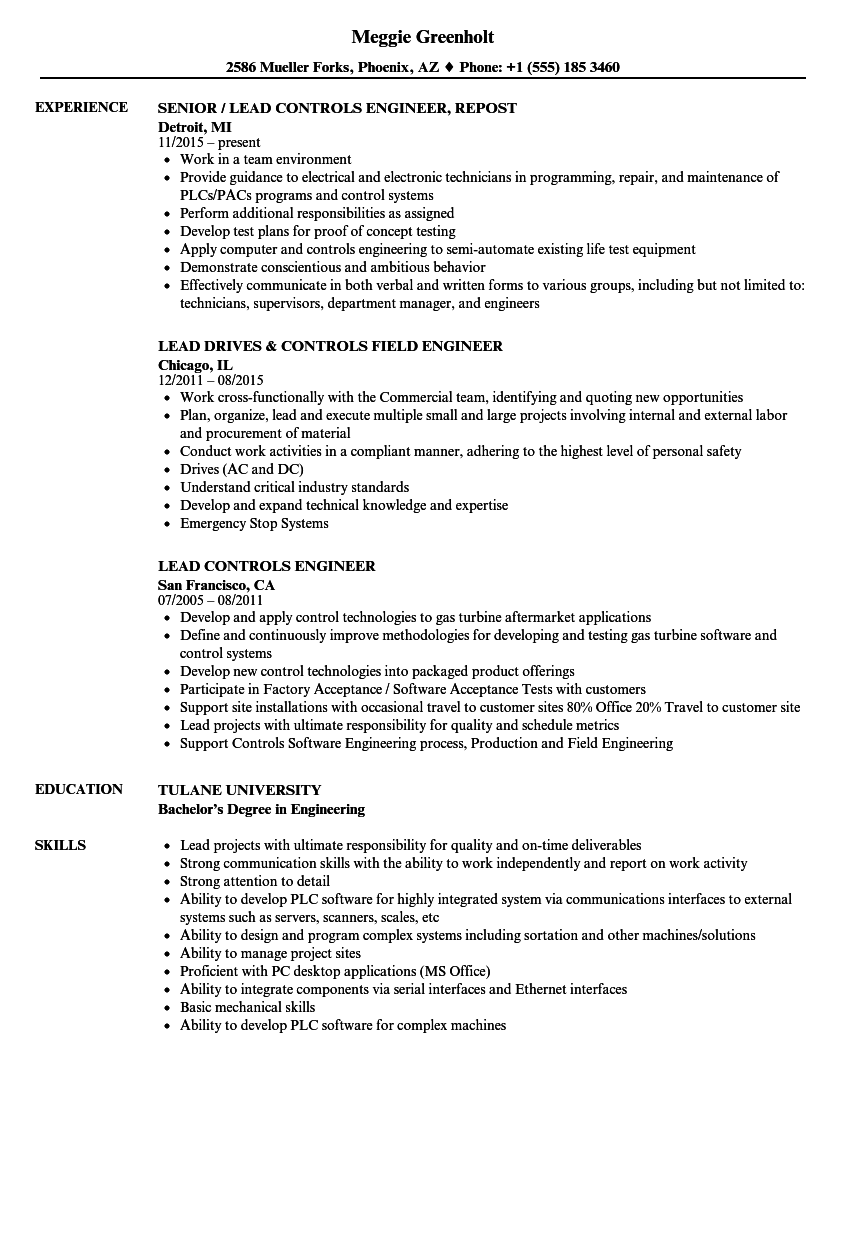 lead controls engineer resume samples