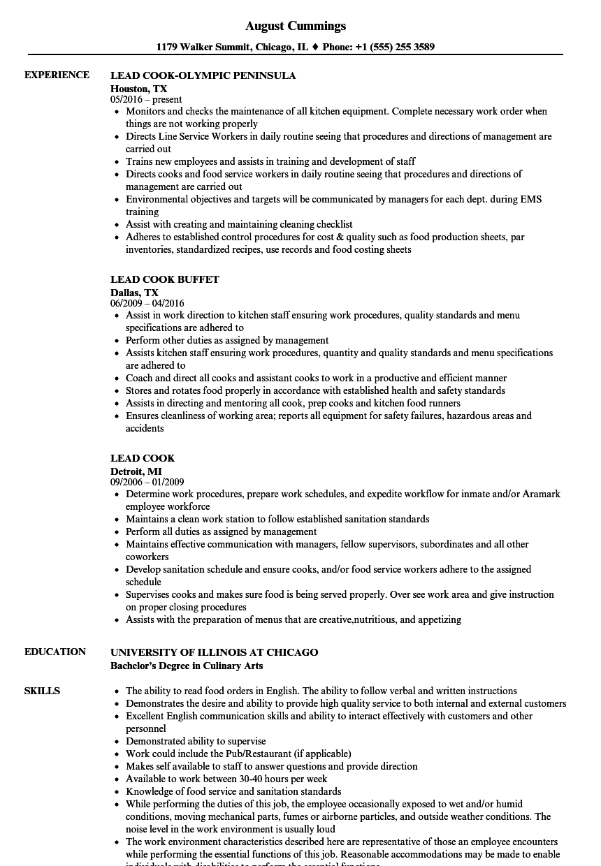 Lead Cook Resume Samples | Velvet Jobs