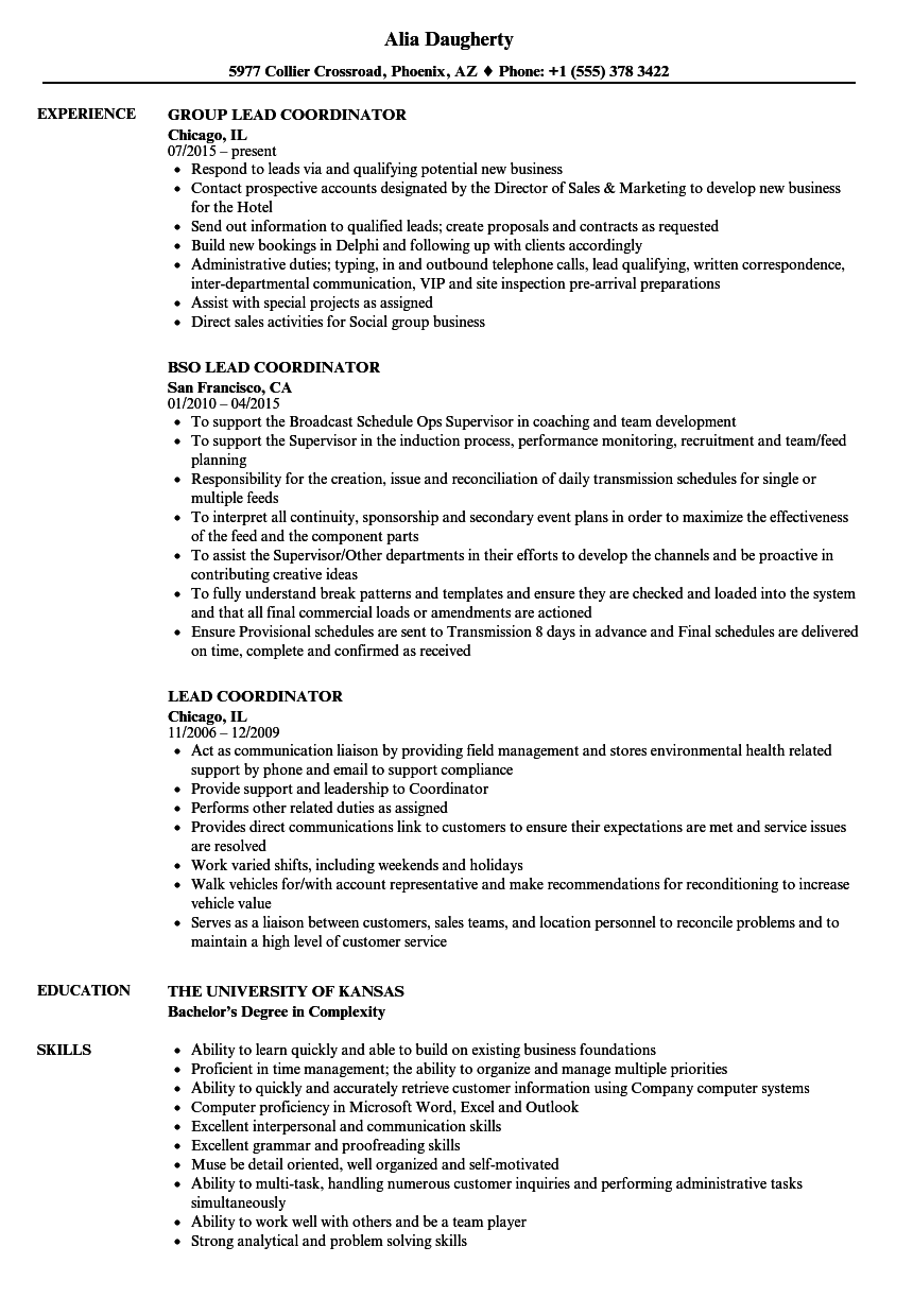 download lead coordinator resume sample as image file - Resume Samples Education