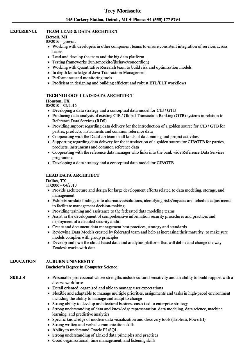 Lead Data Architect Resume Samples | Velvet Jobs