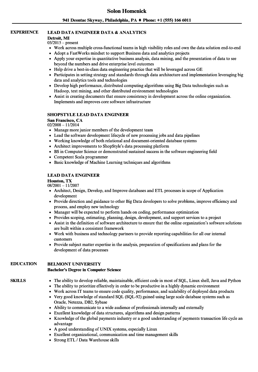 lead data engineer resume samples