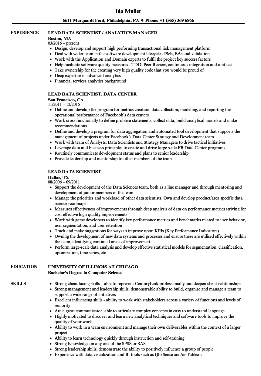 Lead Data Scientist Resume Samples Velvet Jobs