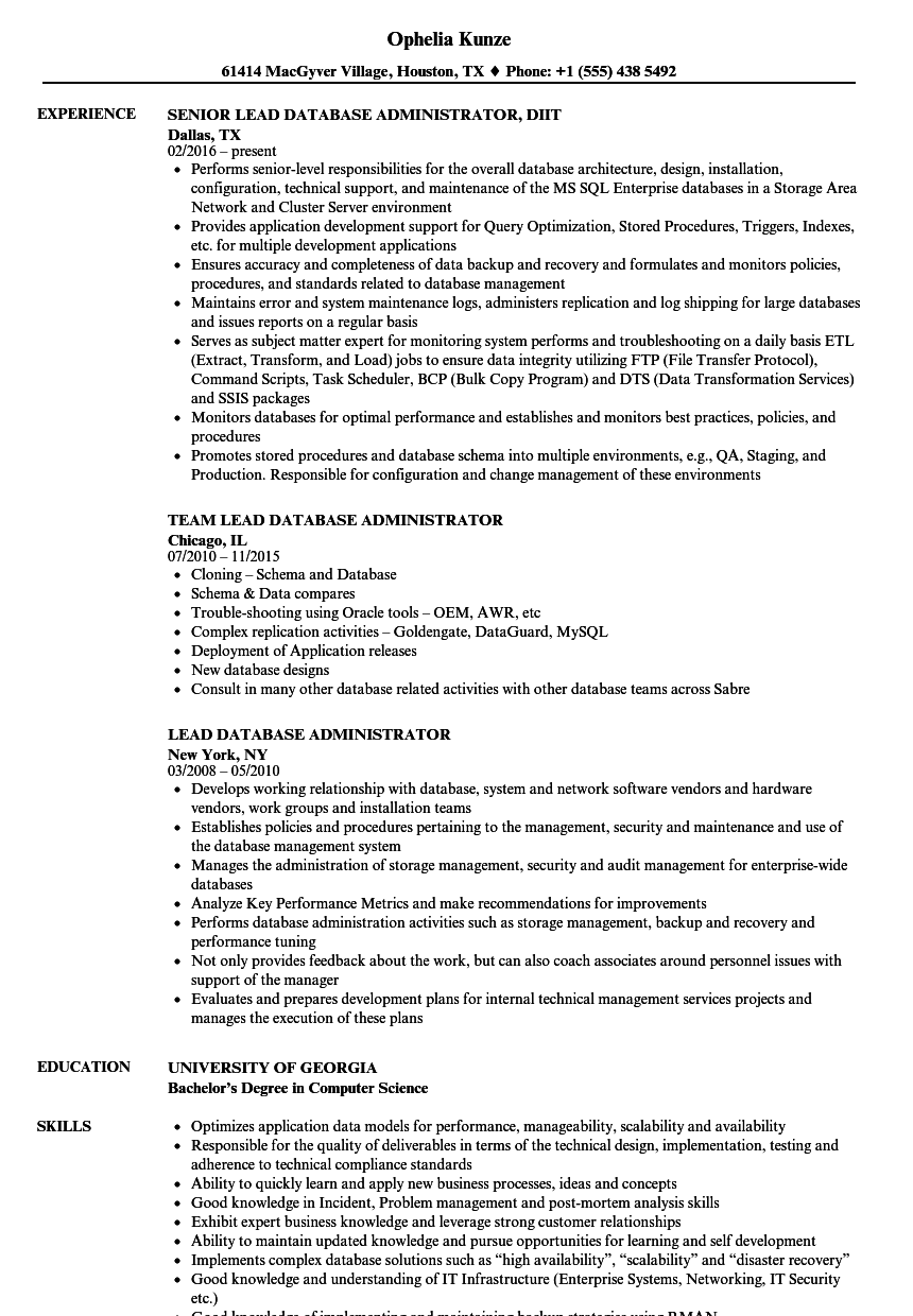 Lead Database Administrator Resume Samples | Velvet Jobs